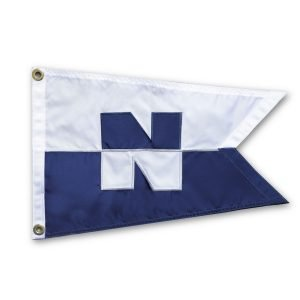 """N"" (Nordhavn) 12×18″ burgee with swallowtail"