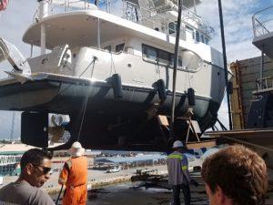 Nordhavn 6078 gets offloaded at Port Everglades today
