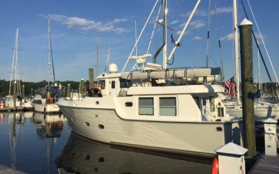 "Nordhavn 40 ""Wolfie"" is the first guest at Nordhavn Yachts Northeast's new location in East Greenwich, RI."