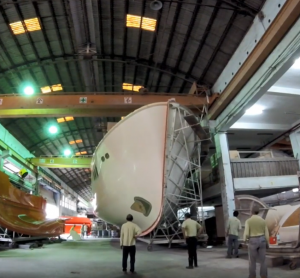 The hull of Nordhavn 68#39 released from the mold at Ta Shing factory