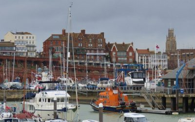 Dirona moored in Ramsgate, UK after changing plans to cruise Scotland instead of the Med.
