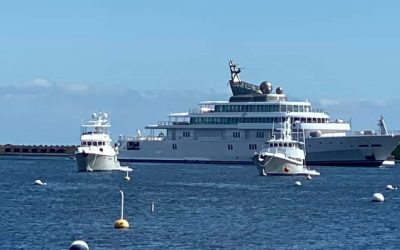 Two Nordhavn's and David Geffen's 452 foot Yacht Rising Sun in New Bedford Harbor, MA