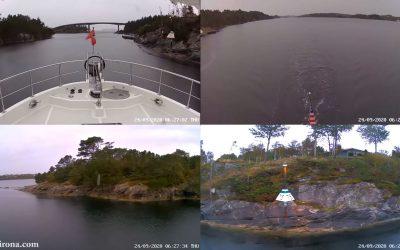Jennifer and James Hamilton navigate their N52 Dirona through Kilstraumen Channel, Norway