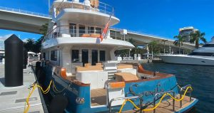 Nordhavn 100 Yacht – loading process – shipping to Auckland NZ aboard DYT ship.