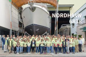 Ta Shing staff celebrate the upcoming shipment of Nordhavn 68 #38