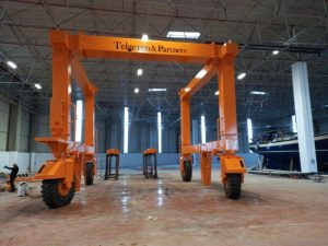 The installation of a 60 ton travel lift at new Istanbul factory