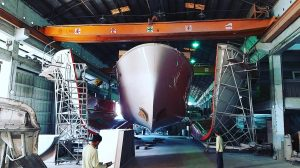 A new Nordhavn is born! N6841 released from the mold at Ta-Shing.